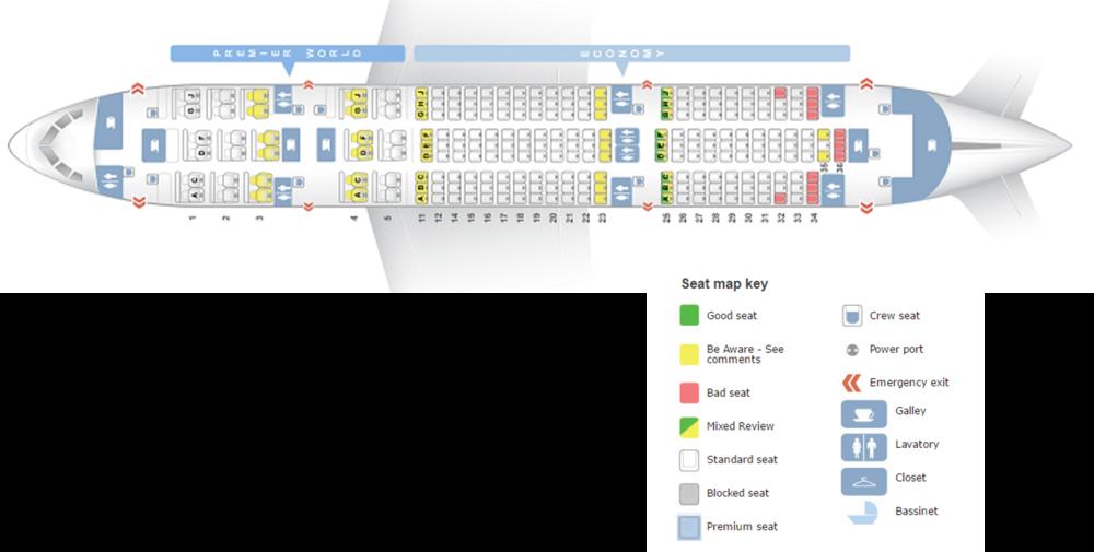 Seating plan of Kenya Airways Dreamliner Courtesy: Seatguru
