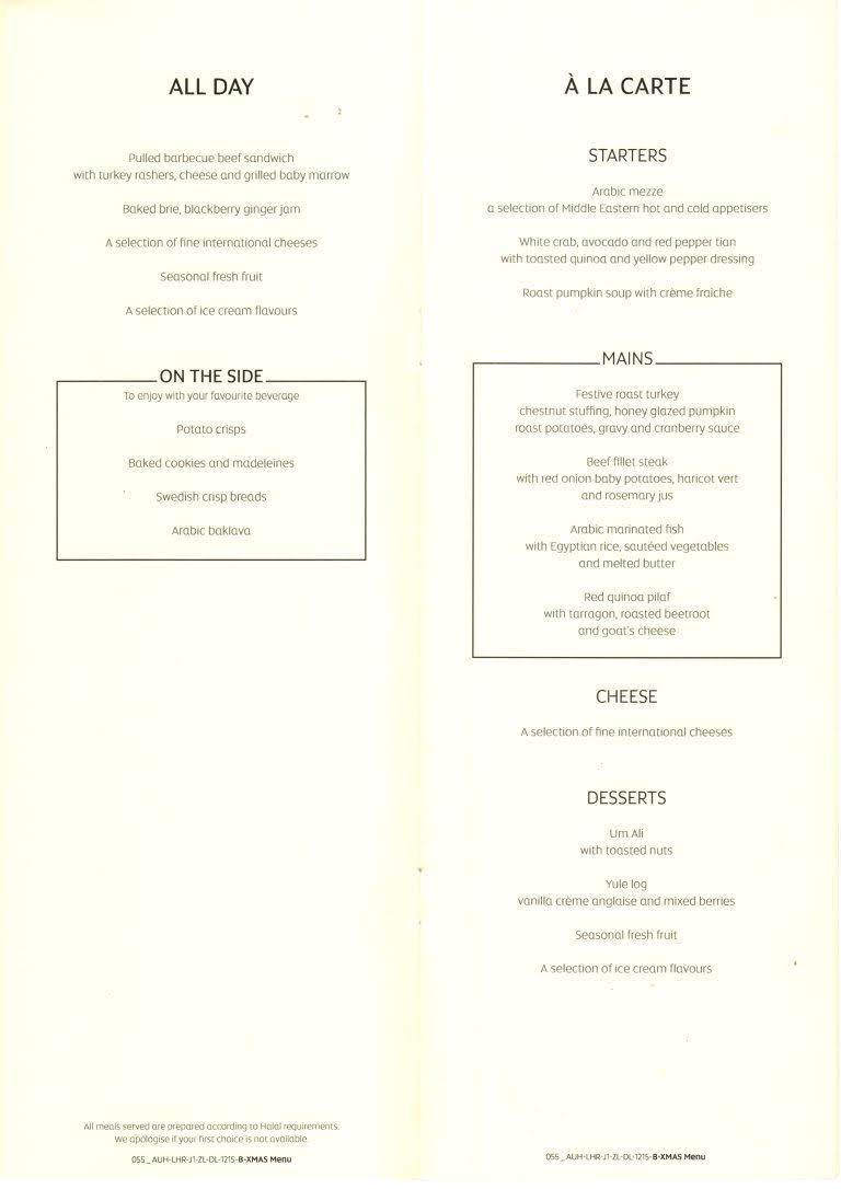 The extensive menu