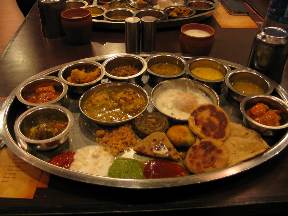 The famous Rajasthani thali. Courtesy: https://www.scoopwhoop.com/inothernews/indian-thalis/#.hkkg6lqzt