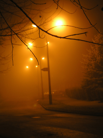The foggy night....