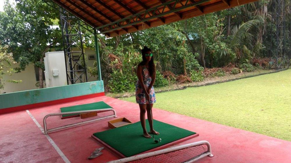 Golf Drive range at Meeru