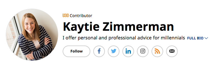 In May of 2016, Kaytie became an Under 30 contributor for Forbes, advising on topics such as workplace issues, trends, and habits of millennials. You can find her work here.