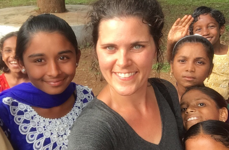 Shelley Callahan of Children Incorporated with children in India