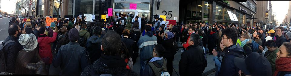 A crowd of over 300 people gathers in support of the OccupyINAC in Toronto on March 14th. Photo by Mark Calzavara.