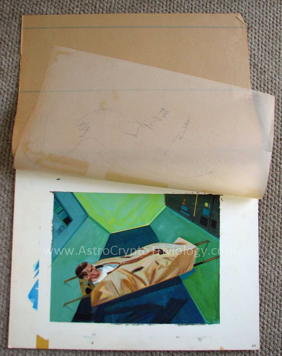 In this photograph of painting 24, the cover sheet and onion skin sheet are visible, but no acetate sheet is present. (Credit: Jon Rogers, 2012)
