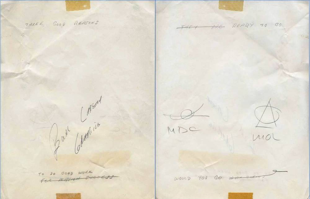 Front (on left, based on orientation when taped to cover sheet) and back (on right) of typewriter paper with handwritten suggestions for mottoes and logos, suggesting Painting 7A was to be used in a motivational poster.