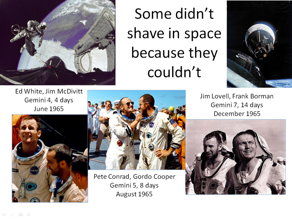 Figure 1. Unshaven astronauts after early Gemini spaceflights. (Credits: NASA.)