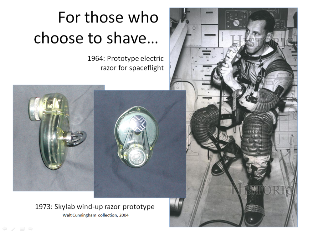 Figure 2. Early and later attempts at mechanical razors for shaving in space. (Credits: Historic Images and unknown manufacturer; Cunningham Collection.)