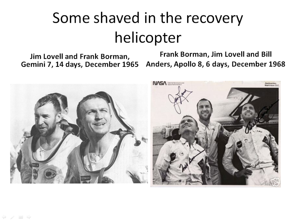 Figure 4. Borman was able to shave aboard the helicopter after Apollo 8 but not after Gemini 7 (Credits: NASA.)