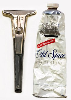 Figure 6. Razor and brushless shaving cream used by Mike Collins on Apollo 11. (Credit: Smithsonian Institution.)