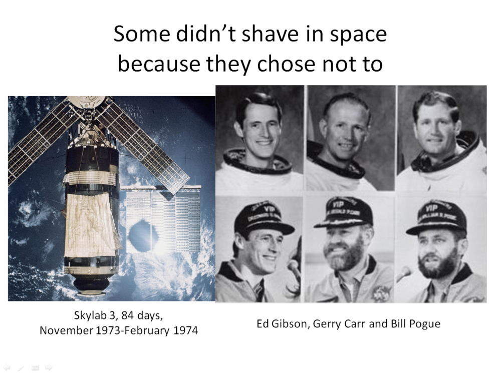 Figure 12. Skylab 3 astronauts before and after 84-day spaceflight. (Credits: NASA.)