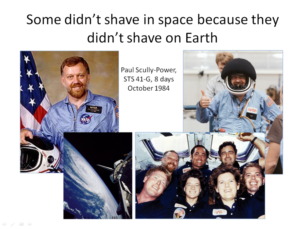 Figure 13. Paul Scully-Power and crewmates on STS 41-G in 1984. (Credits: NASA.)