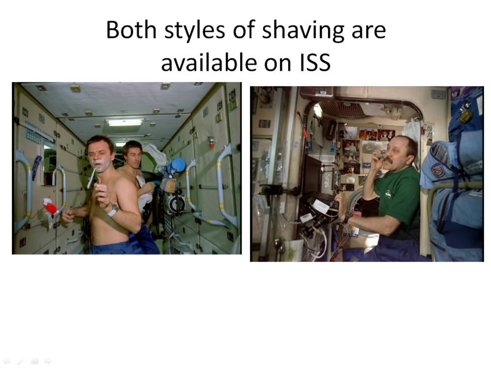 Figure 14: Russian cosmonauts Yuri Gidzenko and Sergei Krikalev (left) on the first ISS expedition and Yuri Usachev (right on the second ISS expedition. (Credits: NASA.)