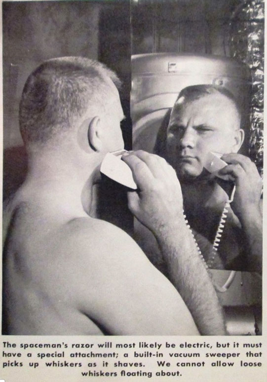 "Figure 2B. A simulated space station mission in the 1960s established the justification of both the electric shaver and the vacuum attachment. (Credit: NASA in ""Living in Space, NF-27, April 1969.)"