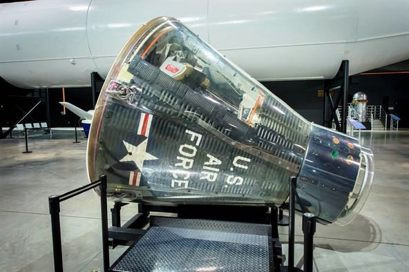 Figure 3. Gemini-B reentry module, possibly the same ECV as in Figure 1, now on display at the National Museum of the U.S. Air Force, Wright-Patterson AFB. Photo credit: Jim Cope, USAF.