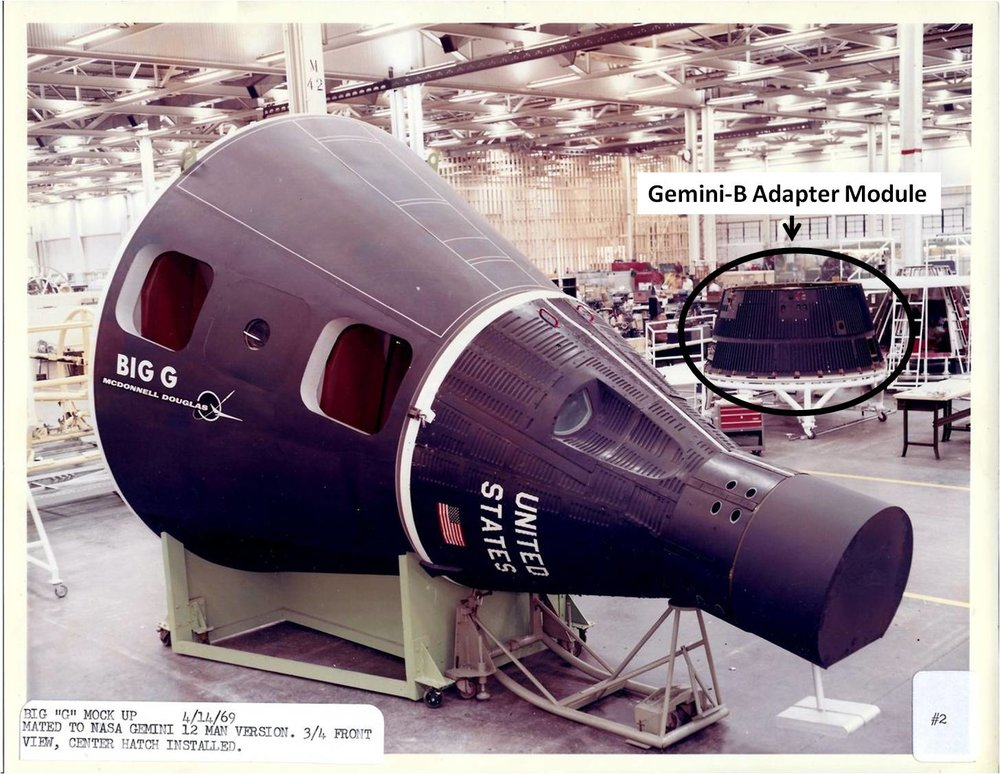 "Figure 3. Big Gemini mockup at McDonnell Douglas in St. Louis, April 1969. At the core of the mockup is the ""NASA Gemini,"" possibly for marketing purposes, even though the concept required the Air Force MOL Gemini-B variant for it to be usable. Note Gemini-B adapter in background, separated from its Gemini-B re-entry module, which was probably used on this mockup for all work except for publicity photos. Photo by McDonnell Douglas, courtesy Dr. Dwayne Day."