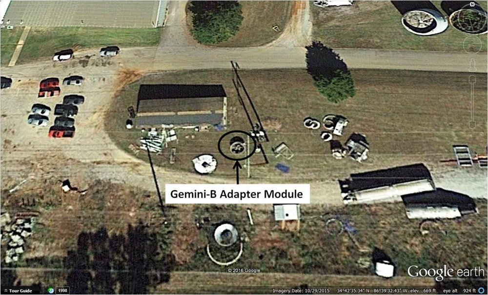 Figure 5. Google Earth view of USSRC bone yard dated Oct. 29, 2015, showing location of Gemini-B adapter module. Screen capture by J. Charles from Google Earth.