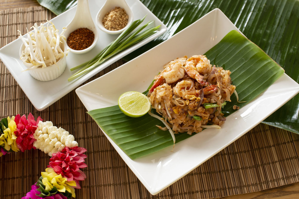 55. PAD THAI -  The famous Thai fried noodle with egg, prawns, crushed peanut and beansprouts.