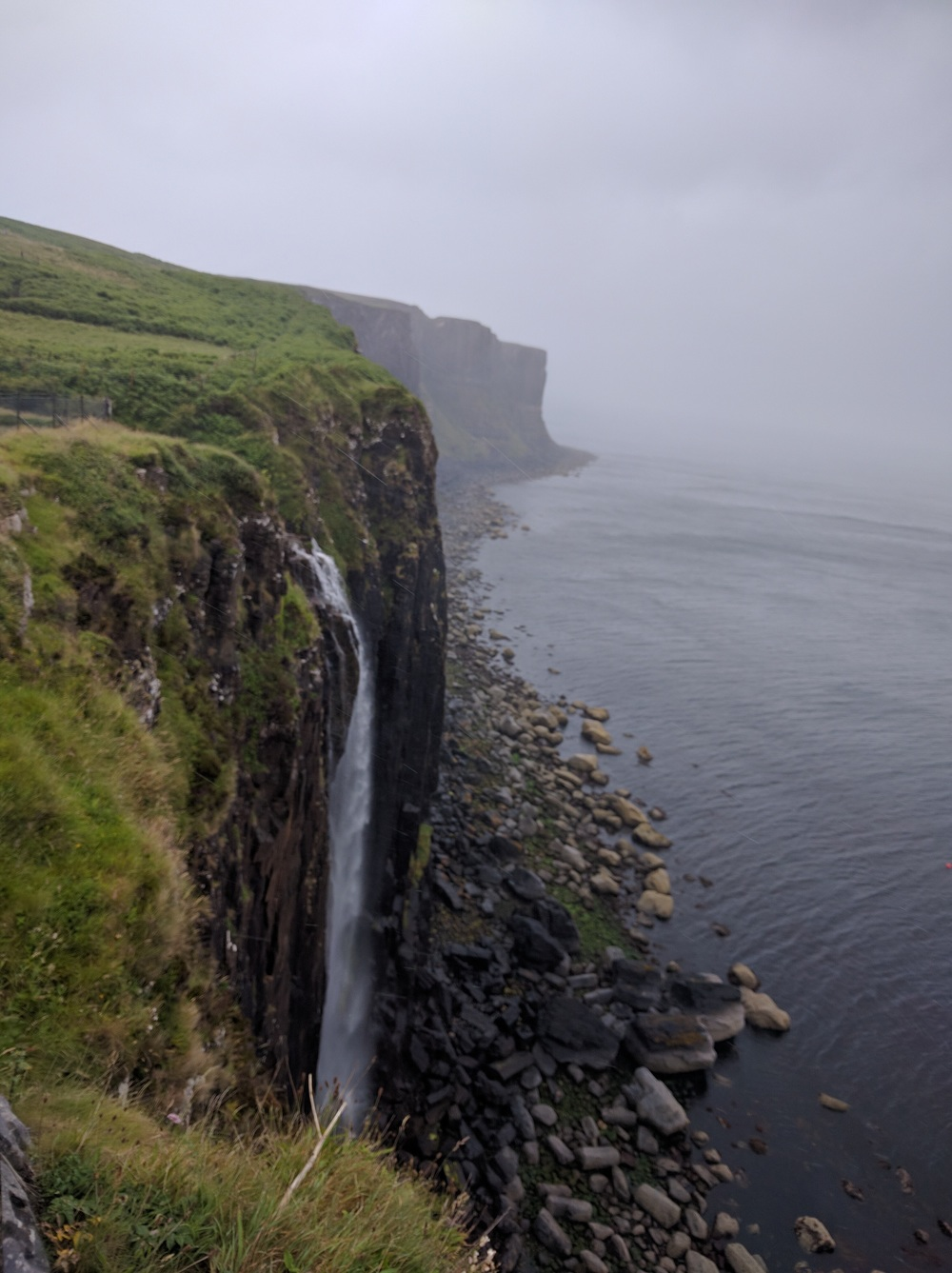 Cliffs of Skye in the rain and fog