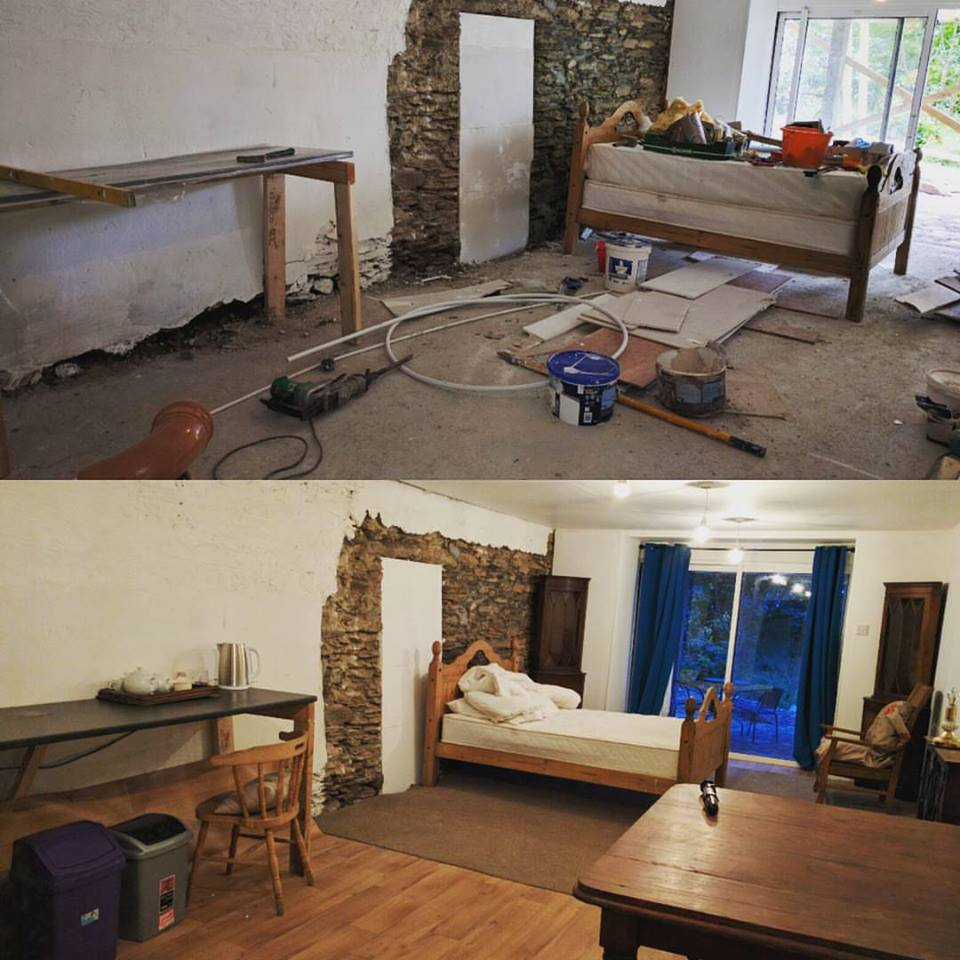 Before and after of the room we converted with other WWOOFers last Monday. This outbuilding looked like the picture above with all of the 'stuff' in it before Jeff and I arrived at the farm.