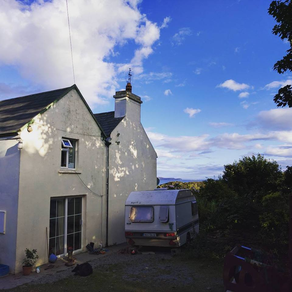 Farmhouse Update: We moved out of the caravan (pictured) after 1 week. When some of the WWOOFers left, we have claimed a bedroom in the house- much better for the cold, wet, windy nights! Yes- the ocean is in the background of the photo, about a 15 minute walk from the house.