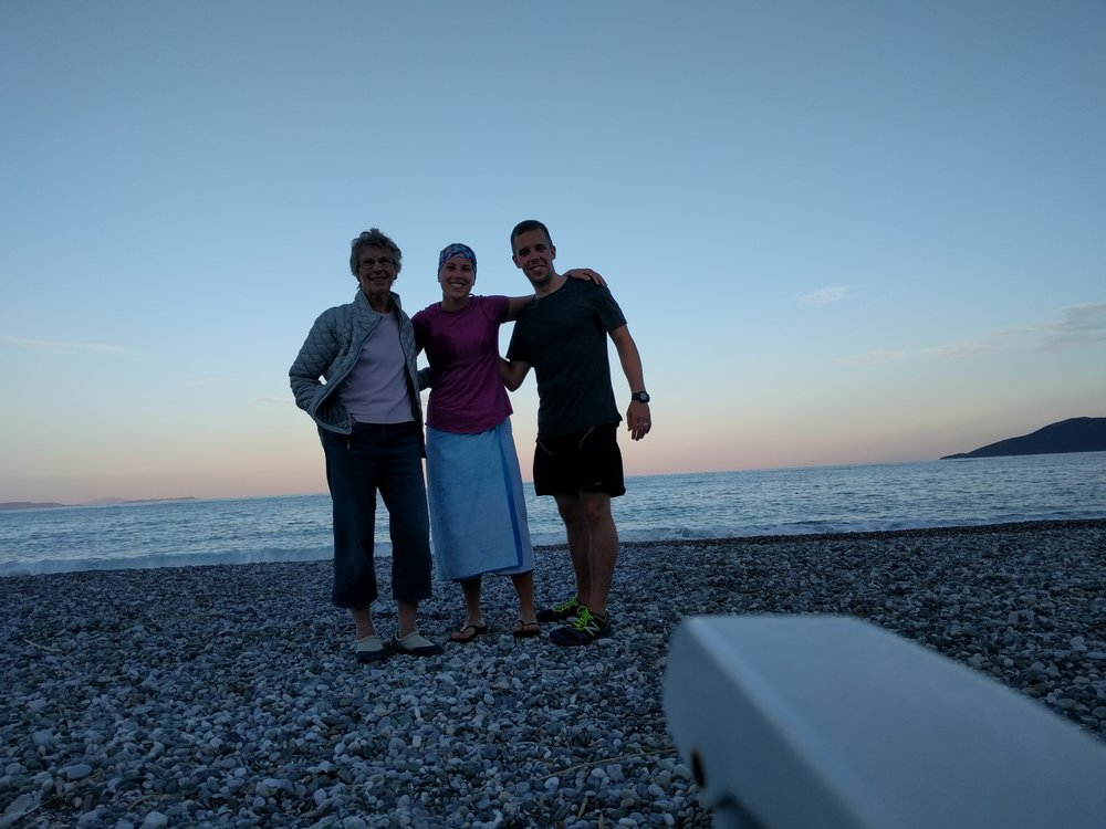 Sherry, Cara (post-swim) and Jeff on the beach in front of Sherry's place!