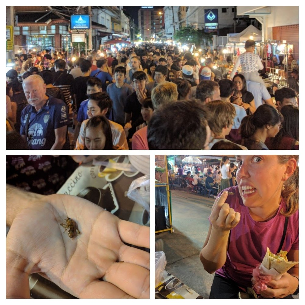 Phil bought a bag of crickets for us to try at the market. When we asked the lady selling the bugs which ones she thought tasted the best, she pointed to the crickets and the grubs. The crickets just tasted like little fried crunchy things- not my favorite, but better than I expected! A few days ago, Jeff and I asked our taxi driver if the locals eat fried bugs. He told us they were only for the tourists...