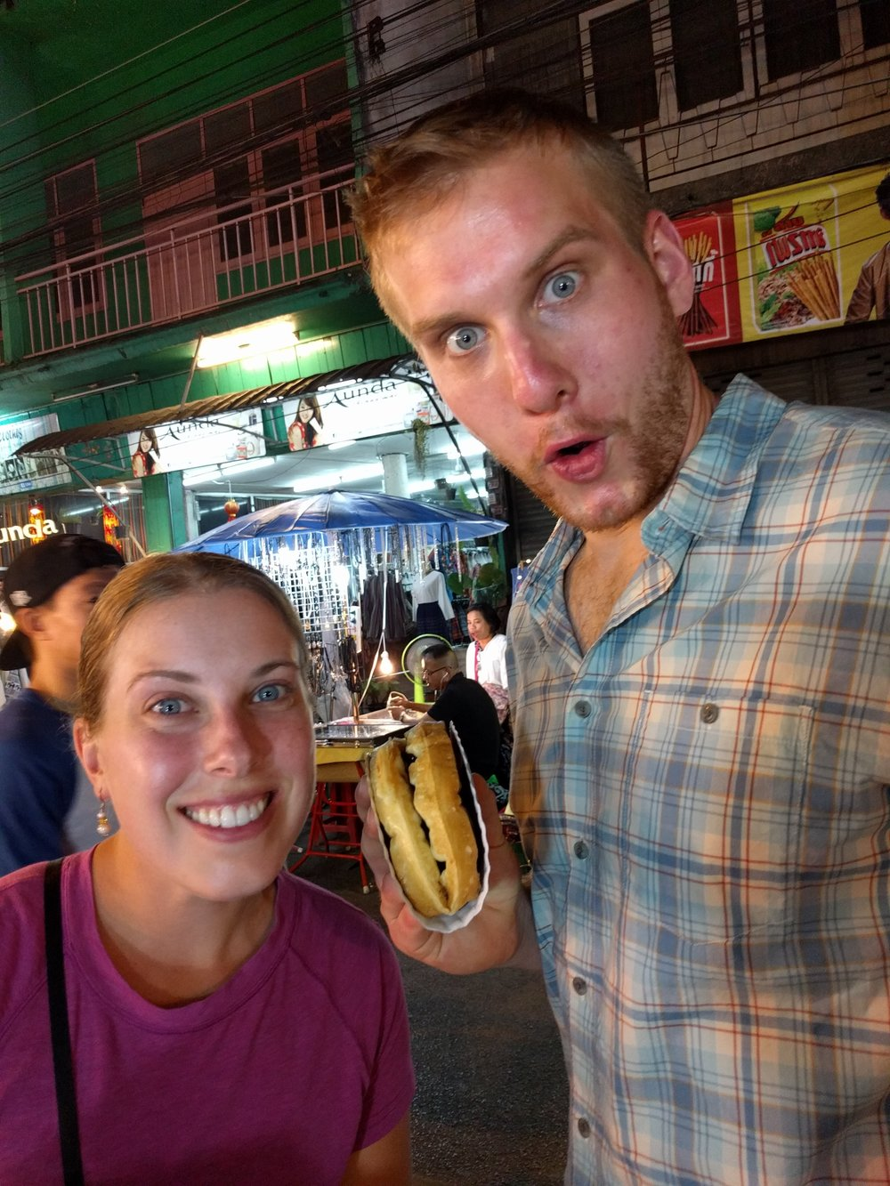 Our last purchase of the night was a giant Belgium waffled filled with chocolate sauce. It made up for the crickets.