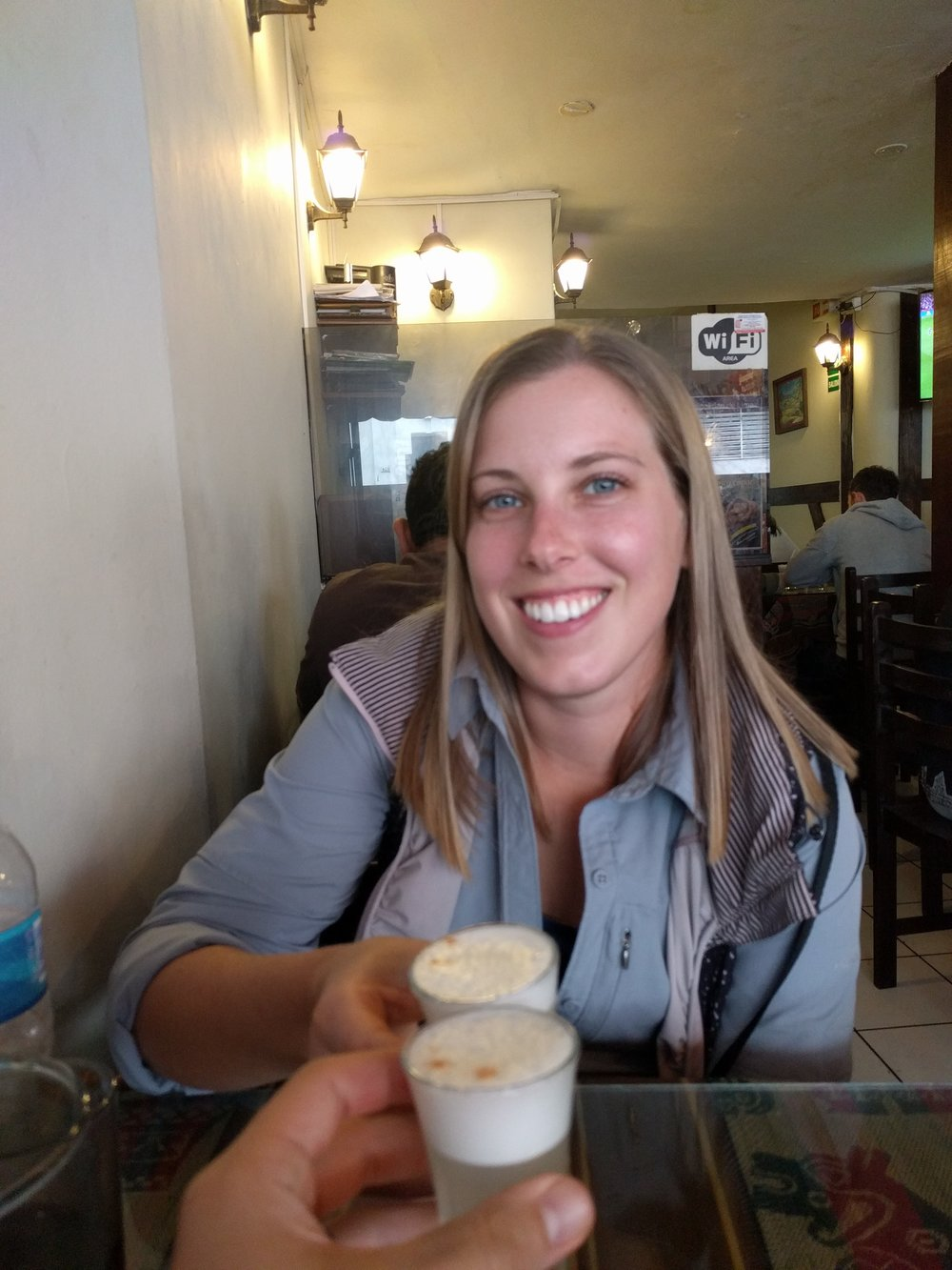 The smile for the free pisco sour before we found out we were getting charged for it…and other things we didn't order…