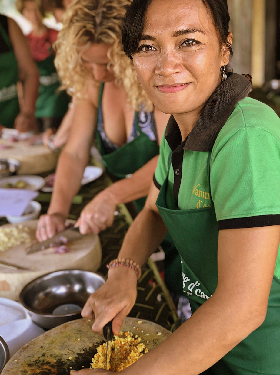 Preparing traditional Balinese food