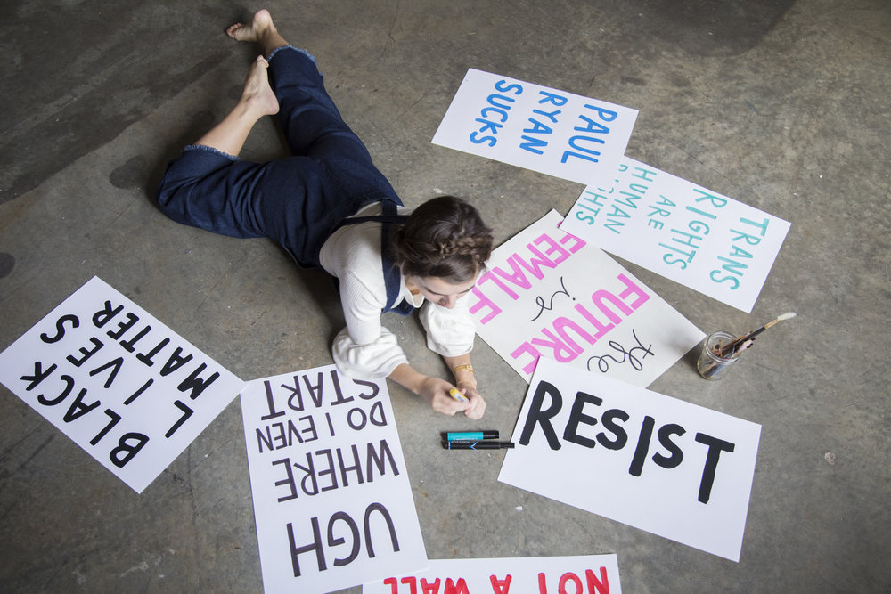 Aerial Image of Protest Poster Drawing