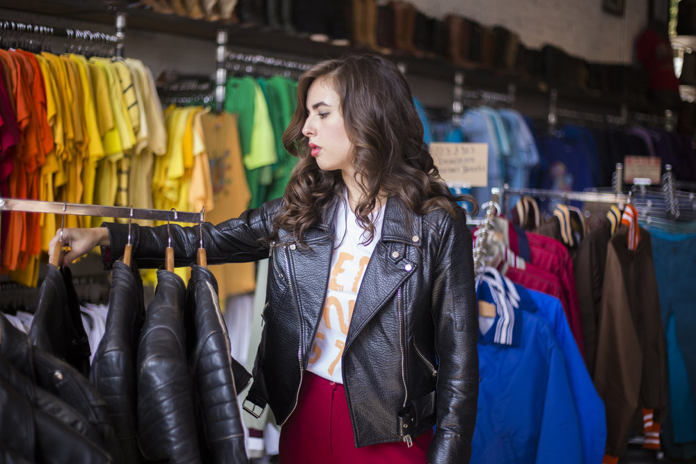Jacket: ABC; Shirt: People I've Loved; Pants: Banana Republic (via Goodwill); Location: Clothing Warehouse in Little Five Points, Atlanta