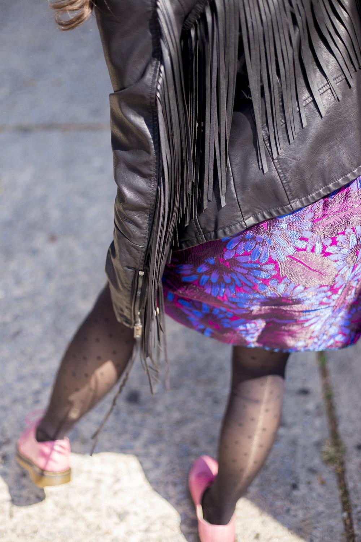 Jacket:  Nordstrom Rack; Skirt: J. Crew;  Tights: ITEM_M6; Shoes: Dr. Martens