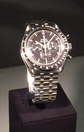 "The Omega Speedmaster ""Moon watch"". The first watch worn by an astronaut walking on the moon during the Apollo 11 mission. This is the only watch flight certified by NASA for space missions."