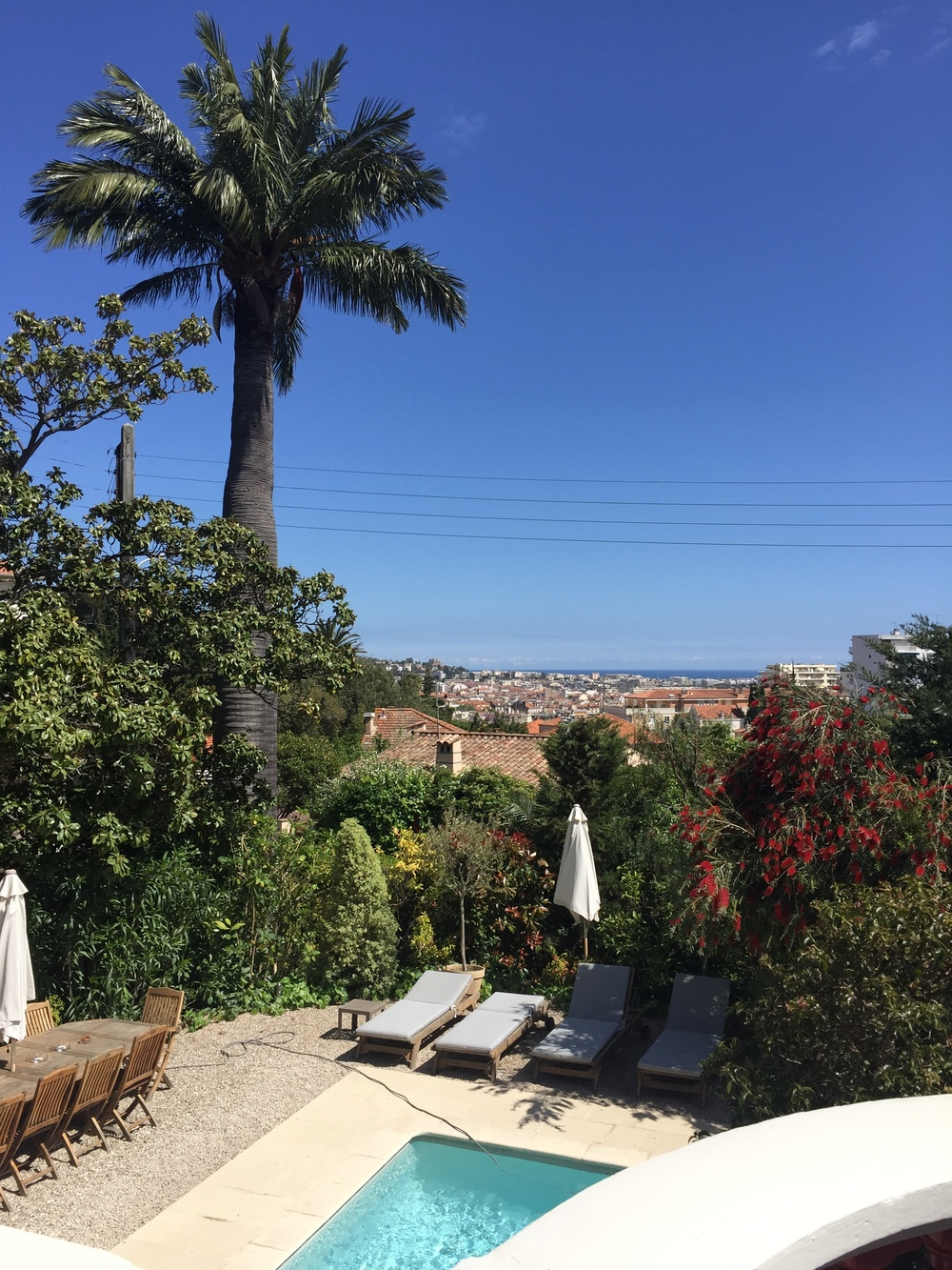 The villa was beautiful - it had a stunning view of Cannes town and the sea.