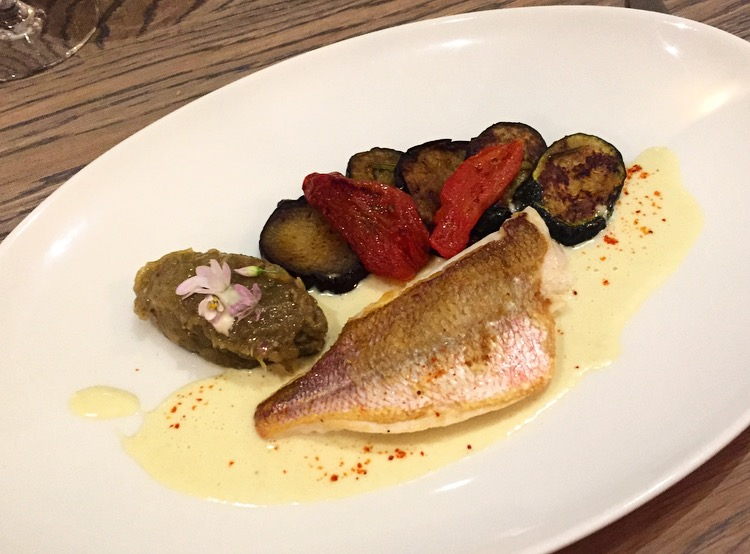 Fish with aubergine, caviar and figs