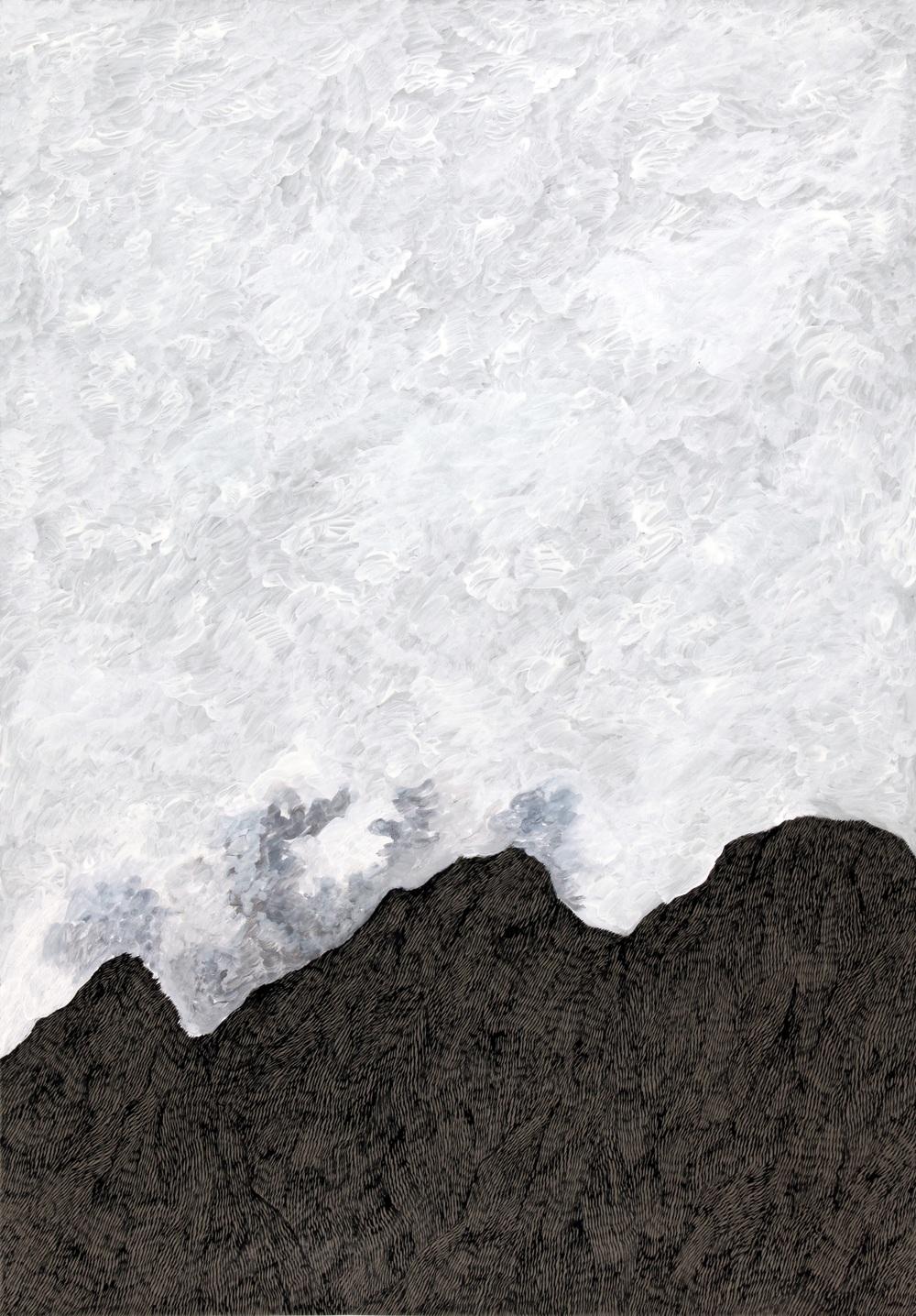 Pinceau, plume et encres sur papier  70 x 100cm   2013 (diptyque 1)