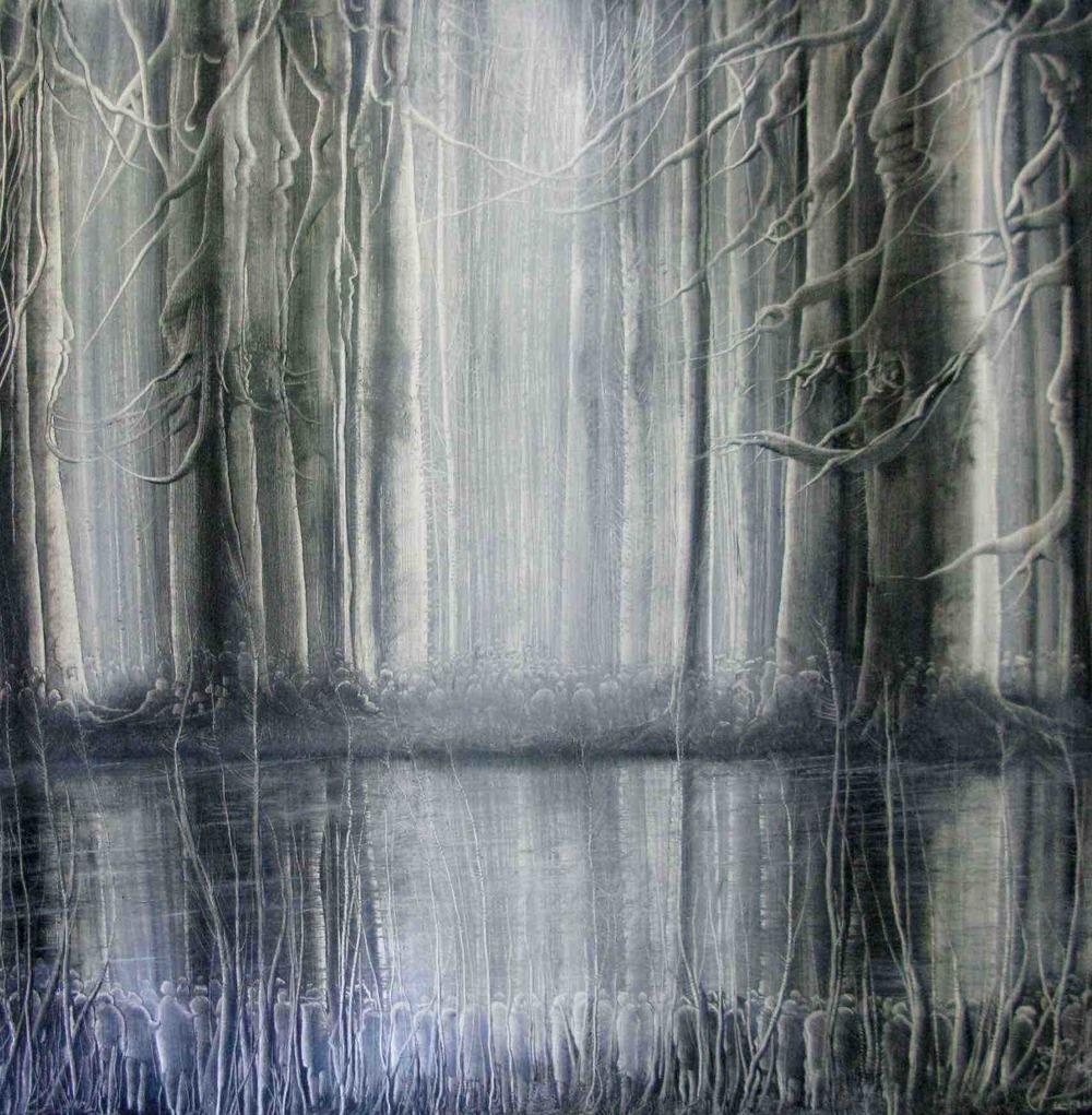 104-Manouchehr Niazi 52 - 141x141cm - Ensemble d'arbres et d'hommes - 2010.jpg