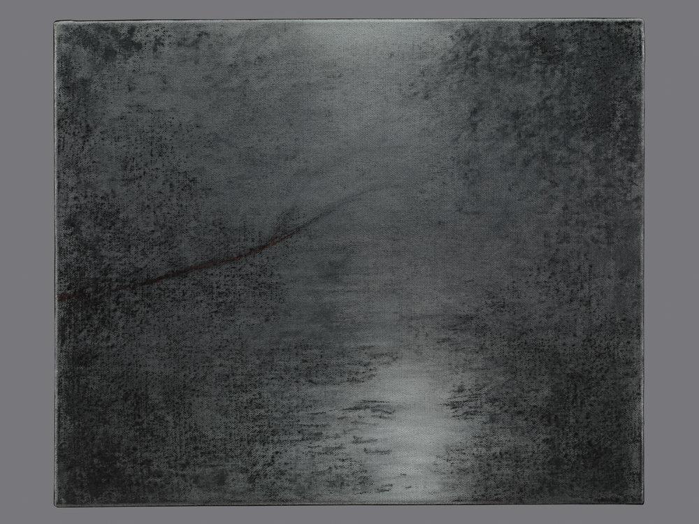 D'ombre et d'eau. Fusain et acrylique sur toile. 38x46 cm. 2016