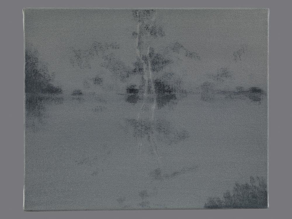 L'étang. Fusain et acrylique sur toile. 38x46 cm. 2015