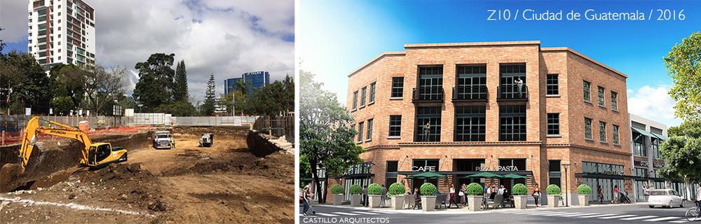 Vista del sitio en construcción y render del proyecto propuesto para la esquina de 6 avenida y 12 calle de la zona 10 de Guatemala