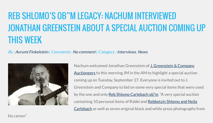 J. Greenstein On Nachum Segal JM in the AM Radio Interview
