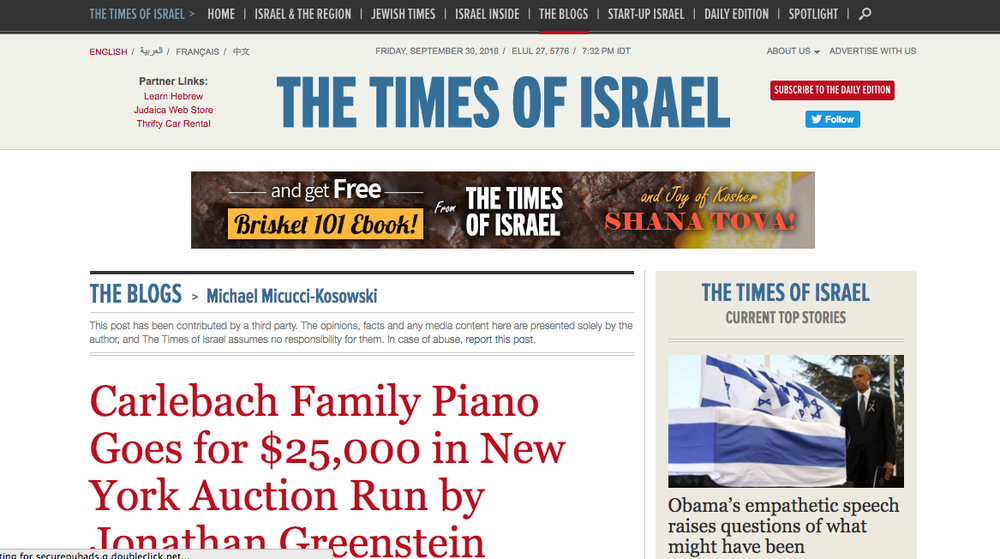 Jonathan Greenstein featured in Times of Israel