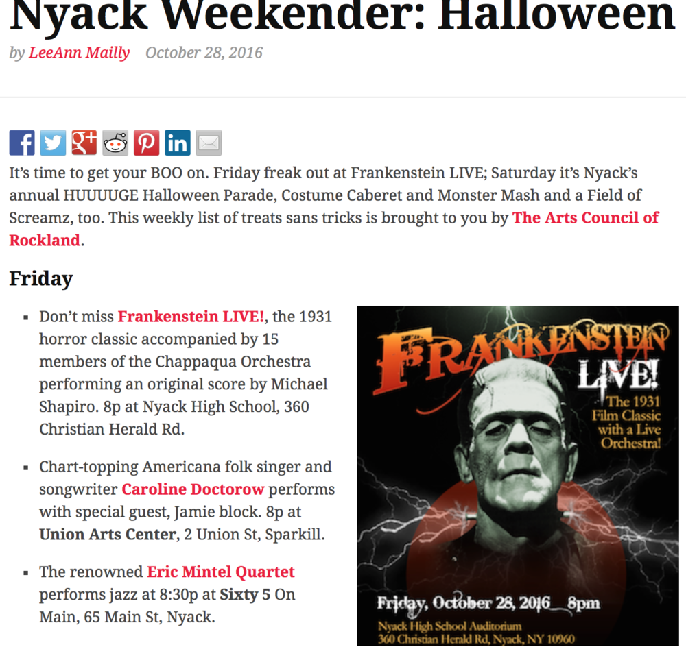 Nyack Halloween Weekend at Sixty5 on Main