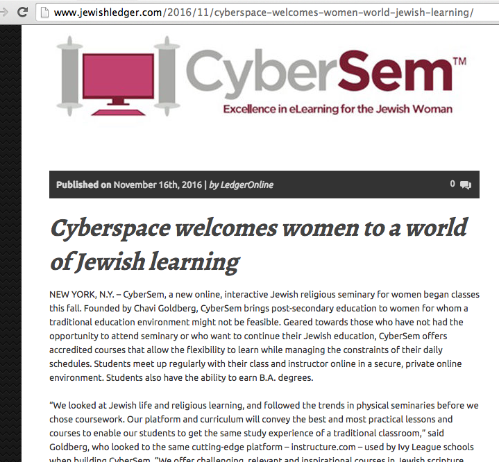 CyberSem feature in JewishLedger.com
