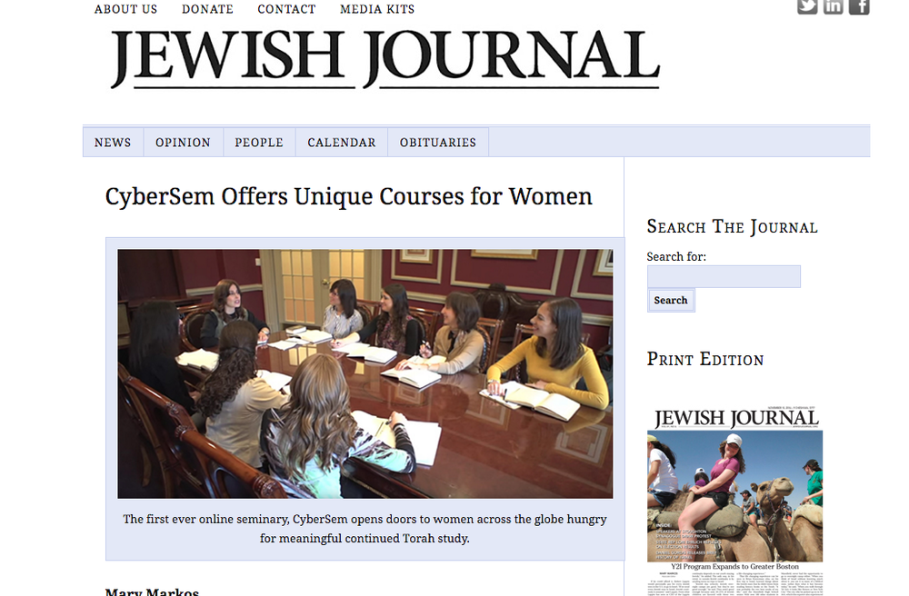 CyberSem feature in the Jewish Journal