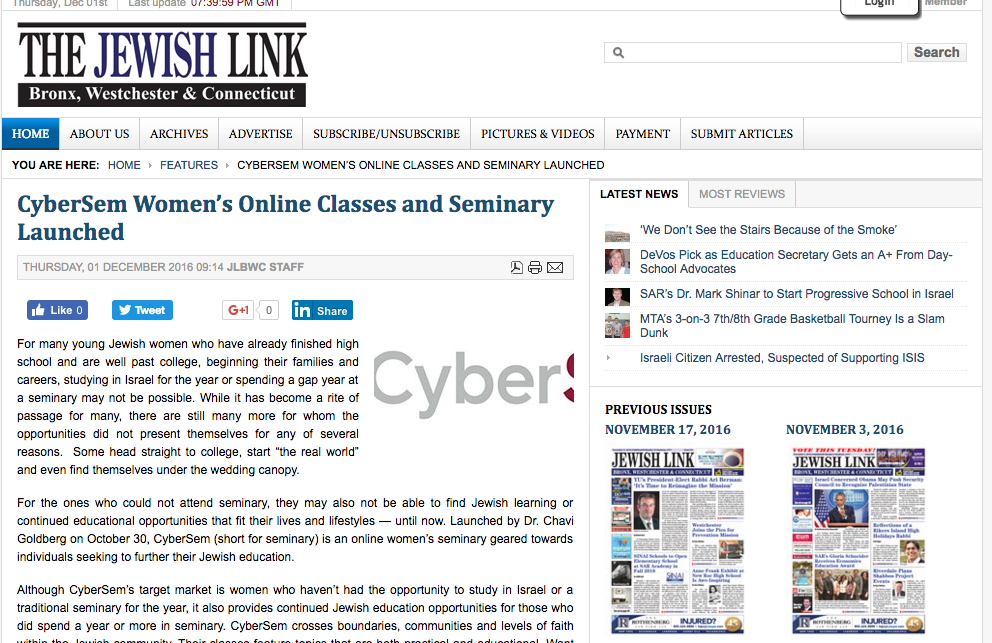 CyberSem feature in Jewish Link BWC