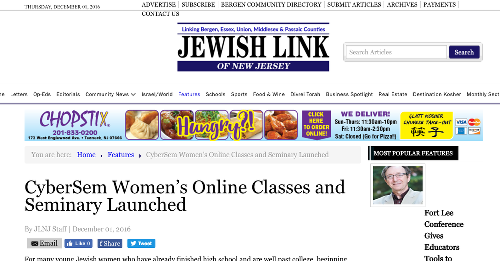 CyberSem's feature in The Jewish Link NJ