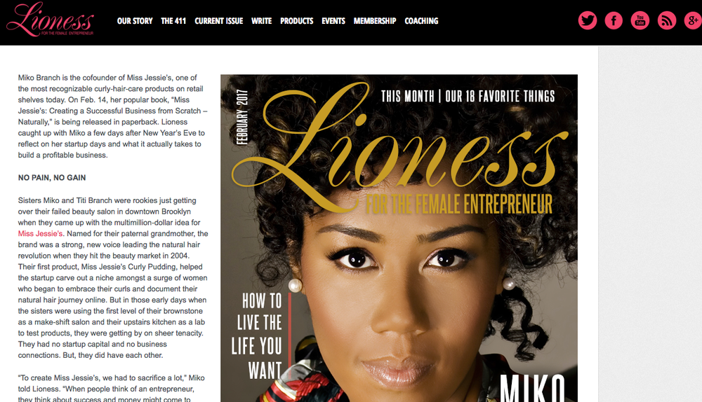 Miko Branch Feature in Lioness Magazine