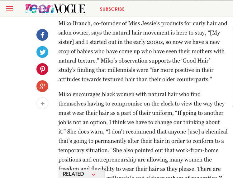 Miko Branch feature in Teen Vogue